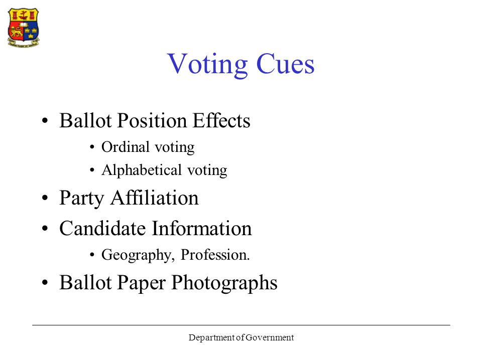 Department of Government Voting Cues Ballot Position Effects Ordinal voting Alphabetical voting Party Affiliation Candidate Information Geography, Profession.