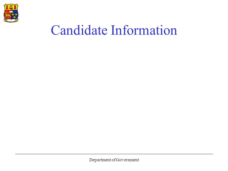 Department of Government Candidate Information