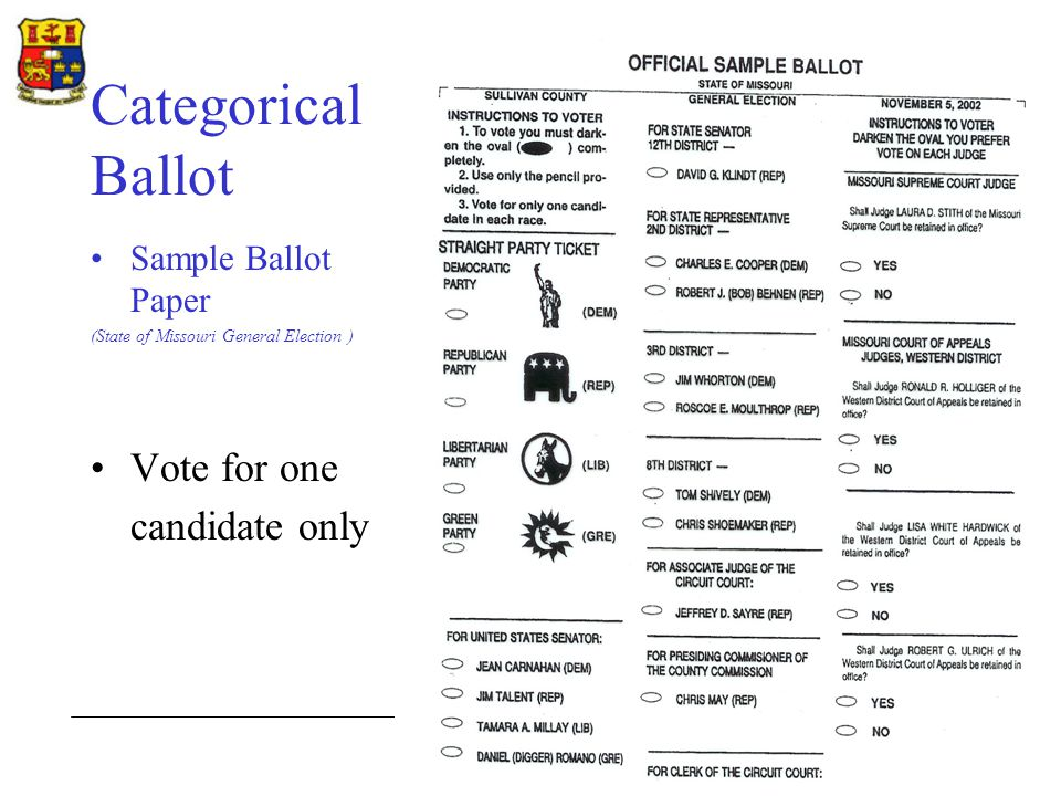 Department of Government Categorical Ballot Sample Ballot Paper (State of Missouri General Election ) Vote for one candidate only