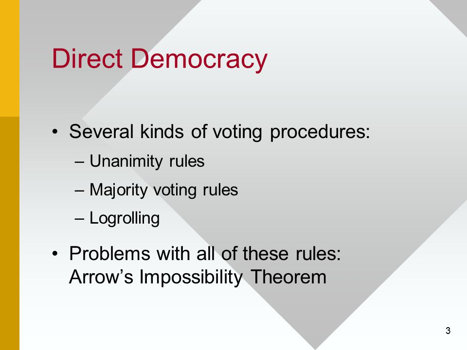 3 Direct Democracy Several kinds of voting procedures: –Unanimity rules –Majority voting rules –Logrolling Problems with all of these rules: Arrow's I