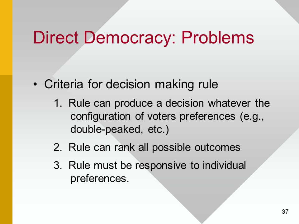 37 Direct Democracy: Problems Criteria for decision making rule 1. Rule can produce a decision whatever the configuration of voters preferences (e.g.,