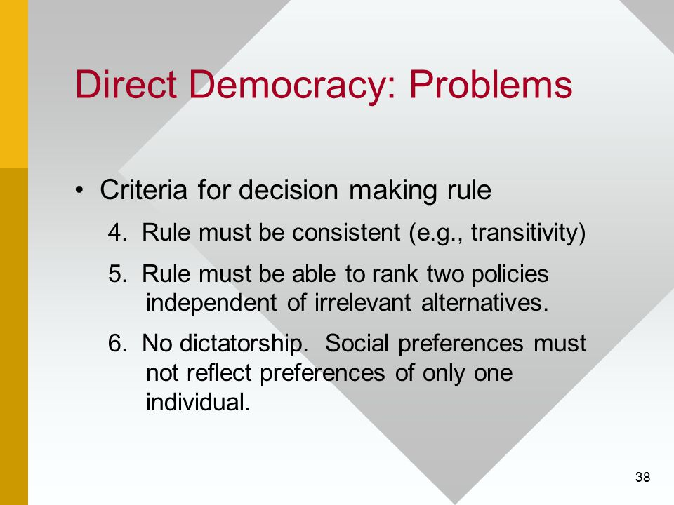 38 Direct Democracy: Problems Criteria for decision making rule 4. Rule must be consistent (e.g., transitivity) 5. Rule must be able to rank two polic