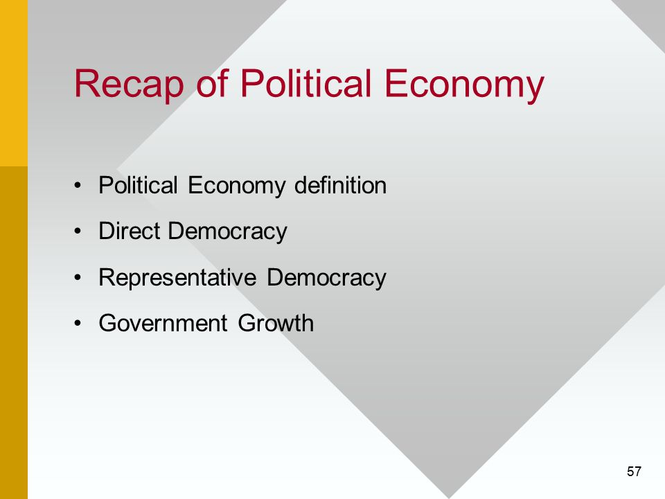 57 Recap of Political Economy Political Economy definition Direct Democracy Representative Democracy Government Growth