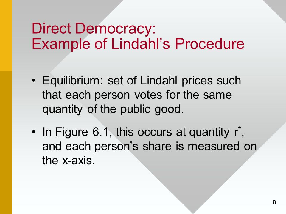 39 Direct Democracy: Problems Arrow's Impossibility Theorem states that it is impossible to find a decision rule that satisfies all of these criteria.