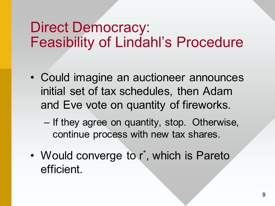 10 Direct Democracy: Feasibility of Lindahl's Procedure Problems: Assumes people vote sincerely –Strategic behavior (e.g., misrepresenting one's preferences) may prevent Lindahl equilibrium.
