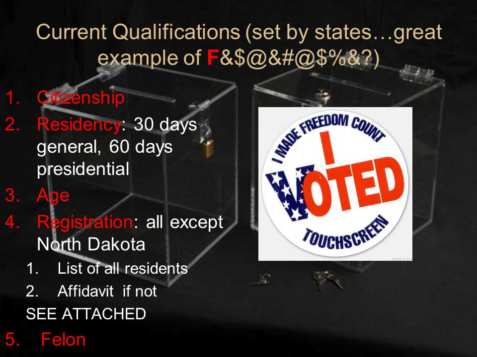 Current Qualifications (set by states…great example of F&$@&#@$%& ) 1.Citizenship 2.Residency: 30 days general, 60 days presidential 3.Age 4.Registration: all except North Dakota 1.List of all residents 2.Affidavit if not SEE ATTACHED 5.