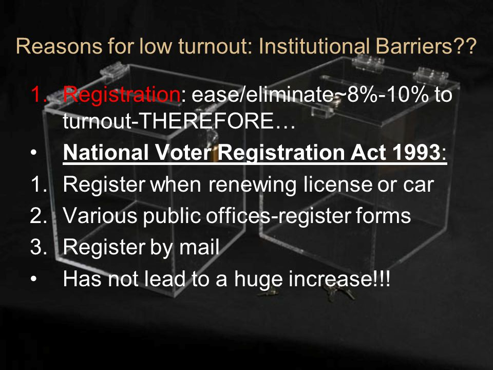 Reasons for low turnout: Institutional Barriers .