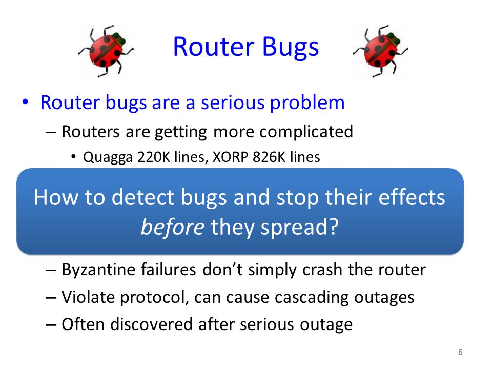 Router Bugs Router bugs are a serious problem – Routers are getting more complicated Quagga 220K lines, XORP 826K lines – Vendors are allowing third-party software – Other outages are becoming less common Router bugs are hard to detect and fix – Byzantine failures don't simply crash the router – Violate protocol, can cause cascading outages – Often discovered after serious outage 5 How to detect bugs and stop their effects before they spread
