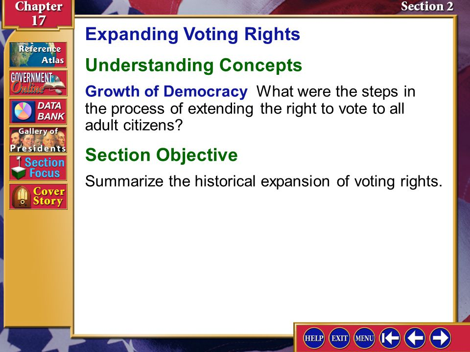 Section 2 Introduction-1 Expanding Voting Rights Key Terms suffrage, grandfather clause, poll tax Find Out What did each of the voting rights acts ach
