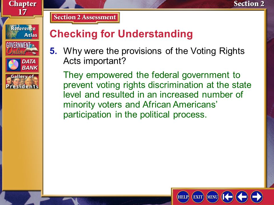 Section 2 Assessment-4 4.What did the Twenty-fourth Amendment outlaw? Checking for Understanding It outlawed poll taxes in national elections.