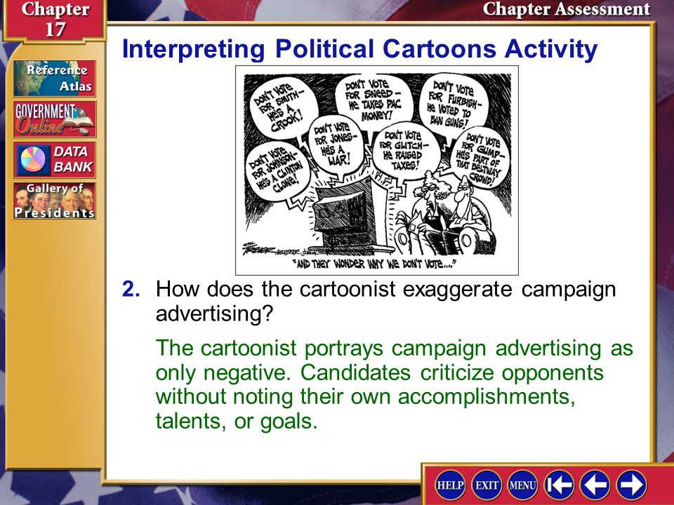 Chapter Assessment 13 1.According to the cartoonist, why don't some people vote? Interpreting Political Cartoons Activity Americans are discouraged by