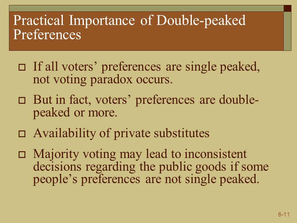 6-11 Practical Importance of Double-peaked Preferences  If all voters' preferences are single peaked, not voting paradox occurs.  But in fact, voter