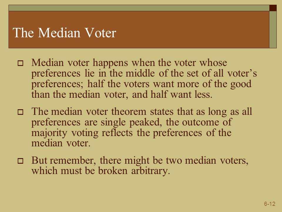 6-12 The Median Voter  Median voter happens when the voter whose preferences lie in the middle of the set of all voter's preferences; half the voters