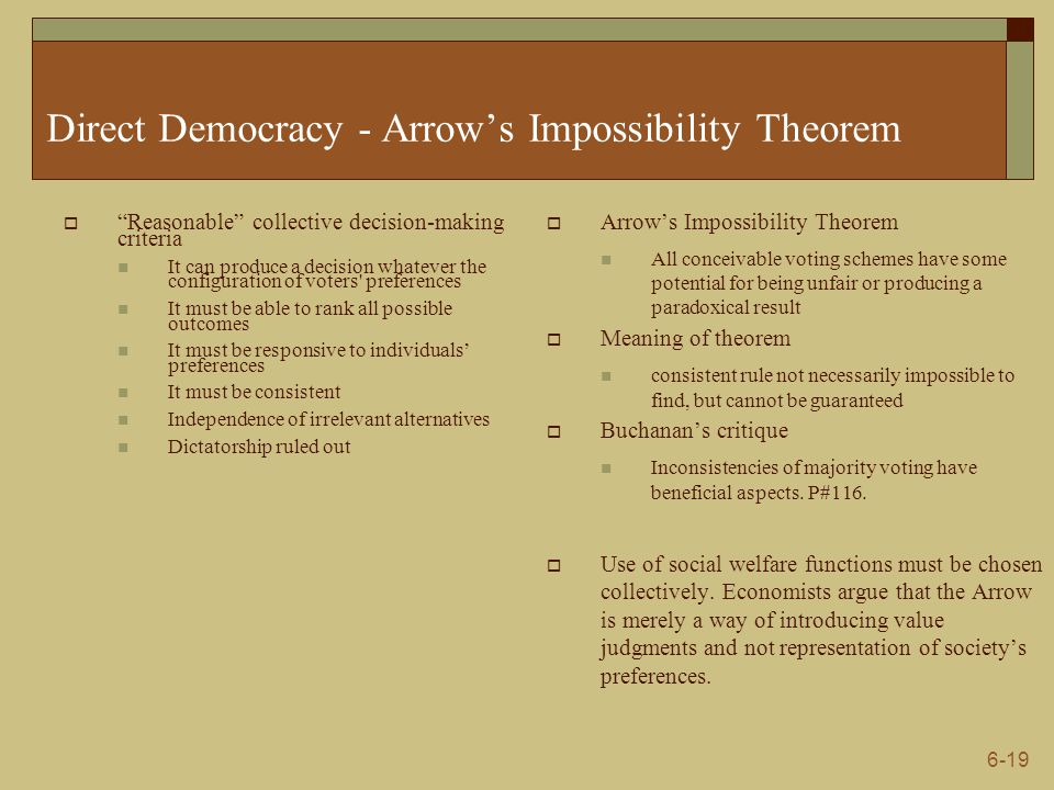 """6-19 Direct Democracy - Arrow's Impossibility Theorem  """"Reasonable"""" collective decision-making criteria It can produce a decision whatever the config"""