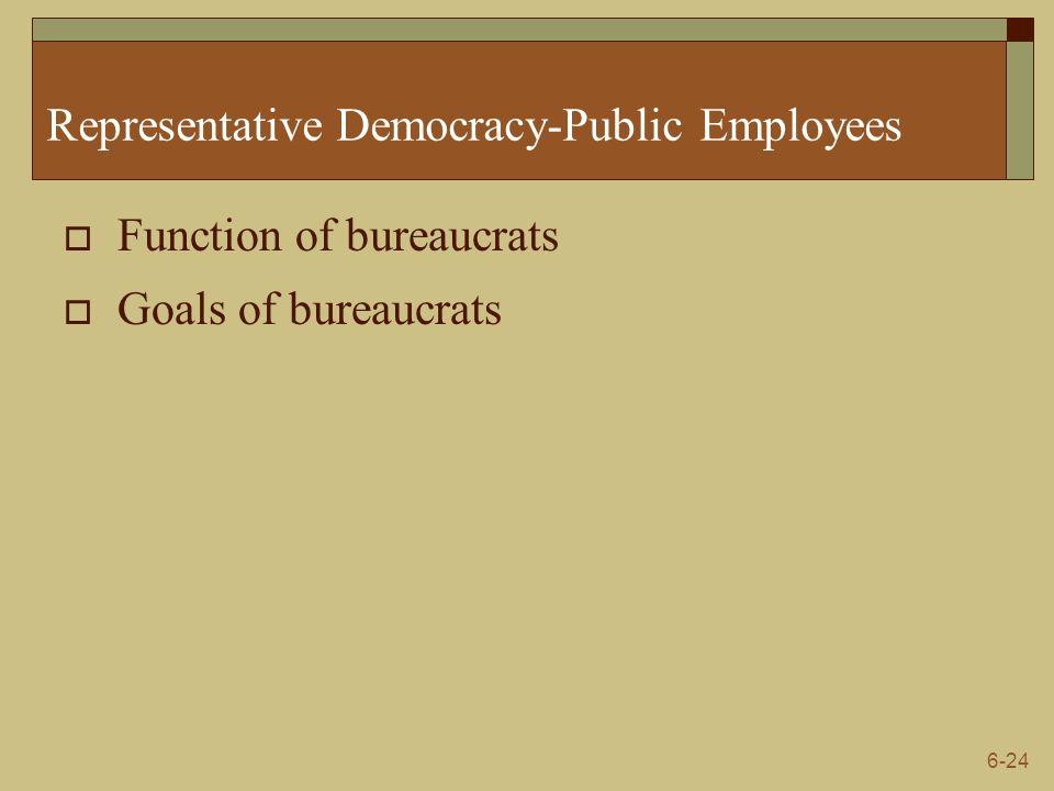 6-24 Representative Democracy-Public Employees  Function of bureaucrats  Goals of bureaucrats