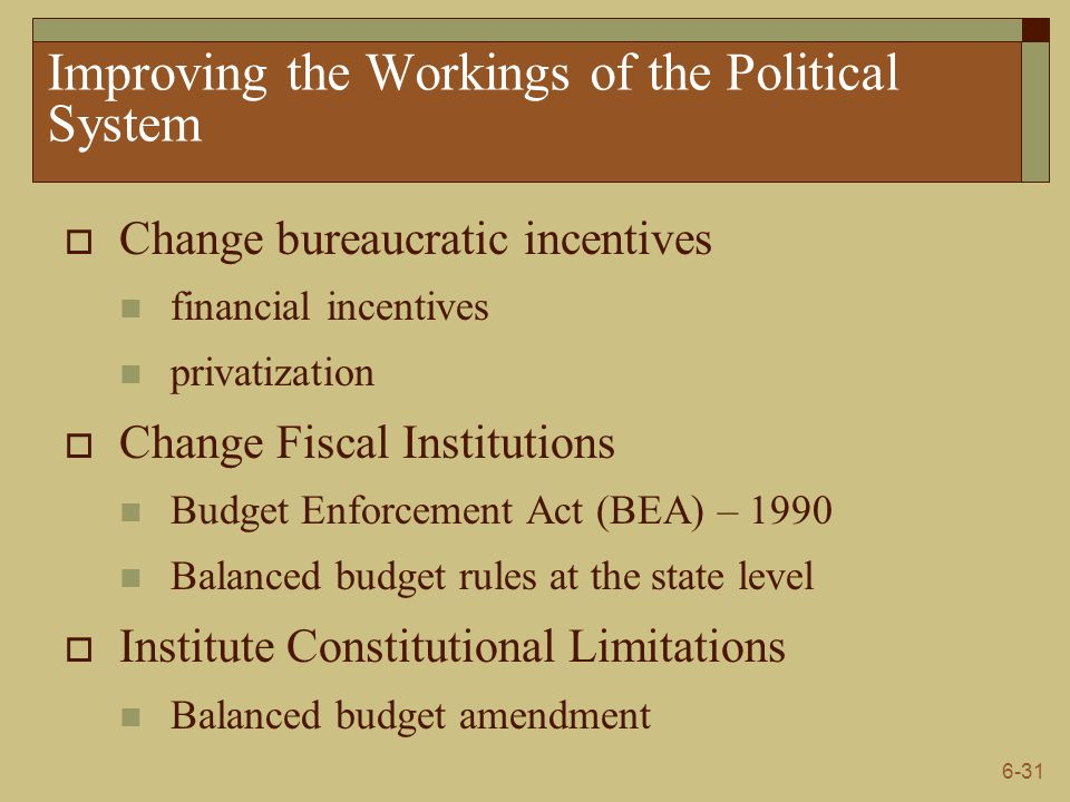 6-31 Improving the Workings of the Political System  Change bureaucratic incentives financial incentives privatization  Change Fiscal Institutions B