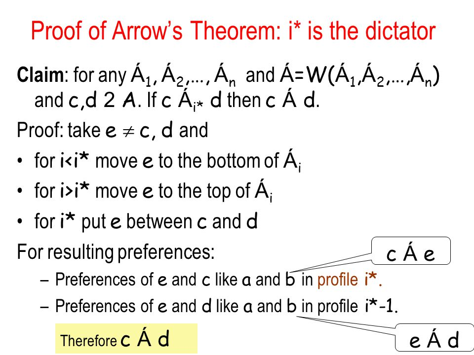Proof of Arrow's Theorem: i* is the dictator Claim : for any Á 1, Á 2,…, Á n and Á =W( Á 1, Á 2,…, Á n ) and c,d 2 A. If c Á i* d then c Á d. Proof: t