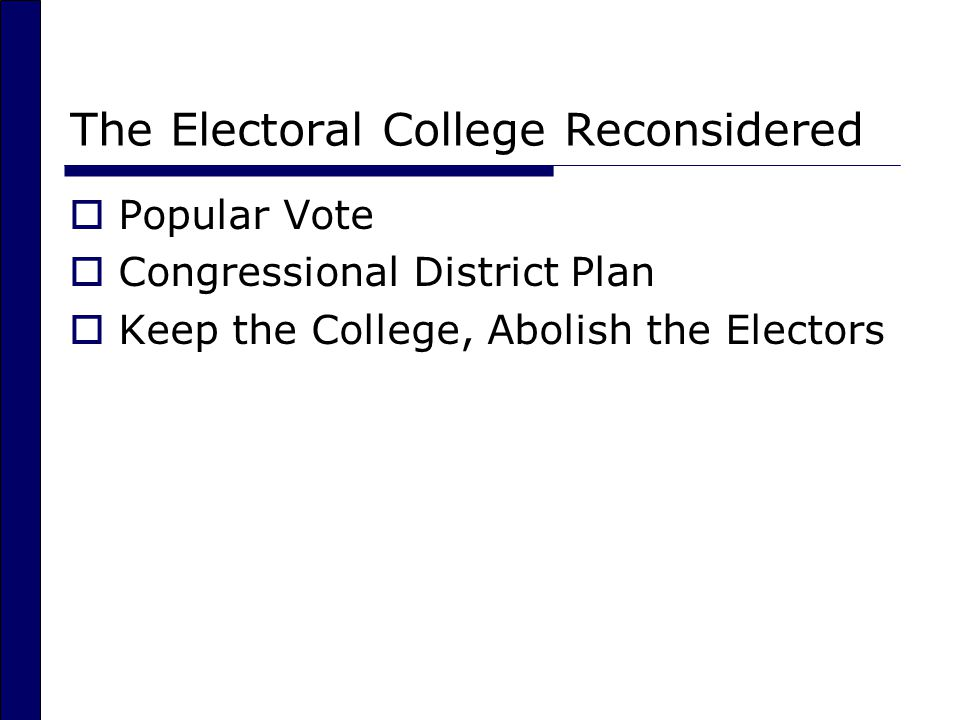 The Electoral College Reconsidered  Popular Vote  Congressional District Plan  Keep the College, Abolish the Electors