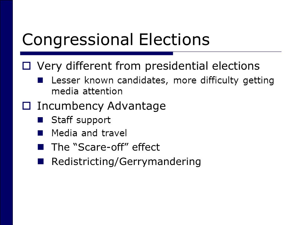 Congressional Elections  Very different from presidential elections Lesser known candidates, more difficulty getting media attention  Incumbency Advantage Staff support Media and travel The Scare-off effect Redistricting/Gerrymandering