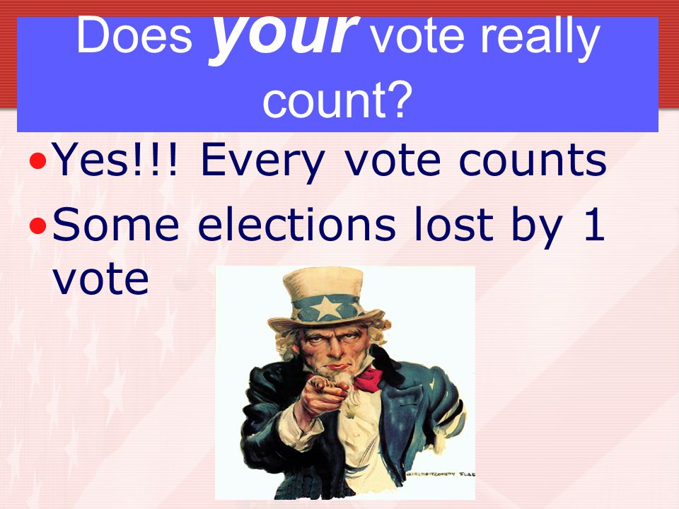 Does your vote really count Yes!!! Every vote counts Some elections lost by 1 vote