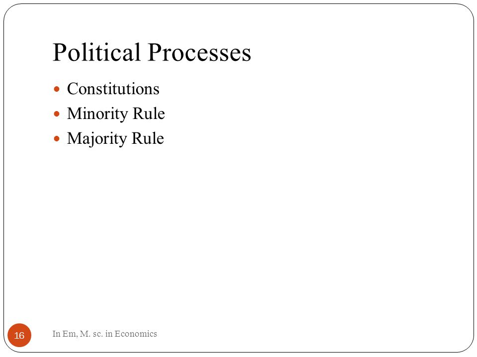 Political Processes 16 Constitutions Minority Rule Majority Rule In Em, M. sc. in Economics