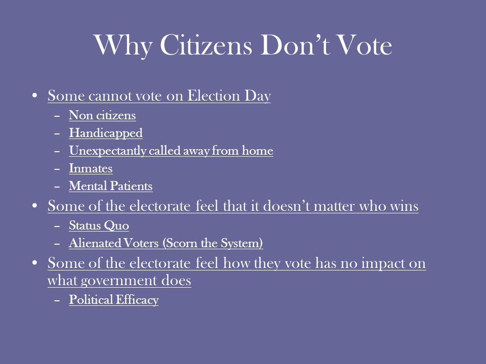 Why Citizens Don't Vote Some cannot vote on Election Day –Non citizens –Handicapped –Unexpectantly called away from home –Inmates –Mental Patients Some of the electorate feel that it doesn't matter who wins –Status Quo –Alienated Voters (Scorn the System) Some of the electorate feel how they vote has no impact on what government does –Political Efficacy