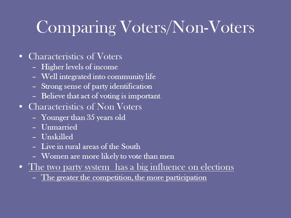 Comparing Voters/Non-Voters Characteristics of Voters –Higher levels of income –Well integrated into community life –Strong sense of party identification –Believe that act of voting is important Characteristics of Non Voters –Younger than 35 years old –Unmarried –Unskilled –Live in rural areas of the South –Women are more likely to vote than men The two party system has a big influence on elections –The greater the competition, the more participation