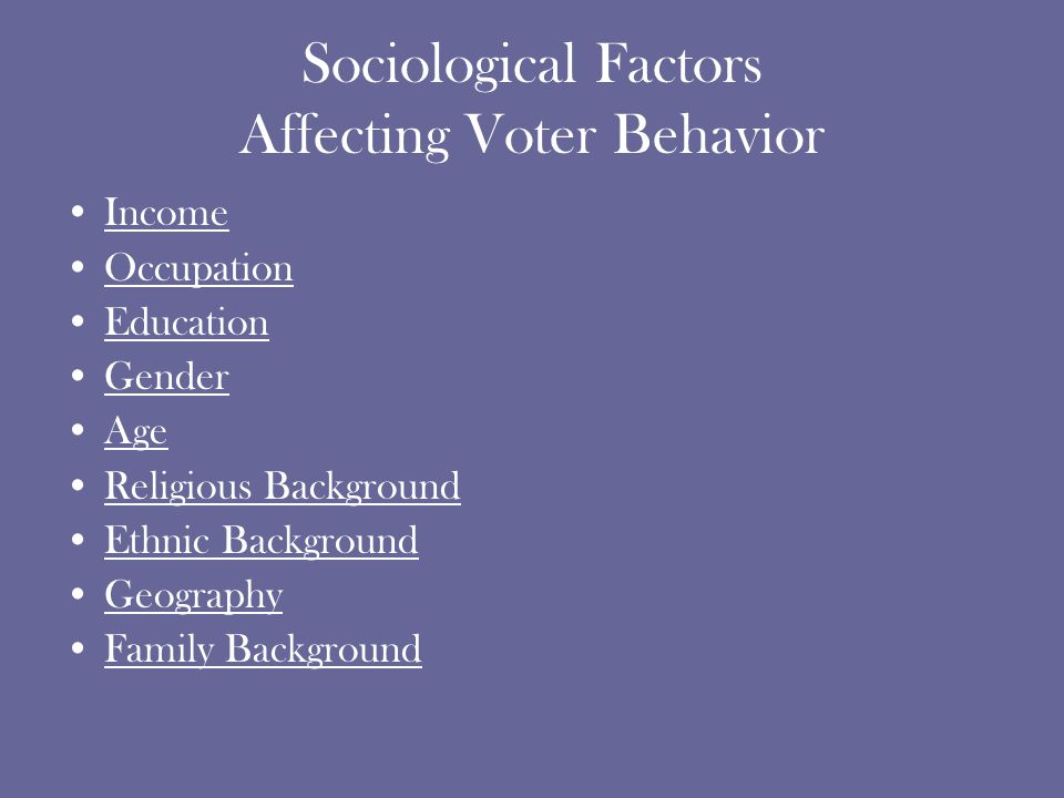 Sociological Factors Affecting Voter Behavior Income Occupation Education Gender Age Religious Background Ethnic Background Geography Family Background