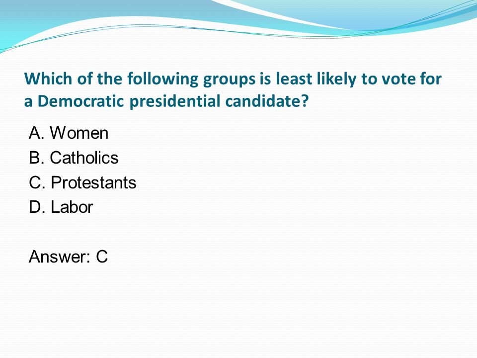 Which of the following groups is least likely to vote for a Democratic presidential candidate.