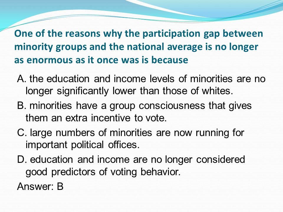 One of the reasons why the participation gap between minority groups and the national average is no longer as enormous as it once was is because A.