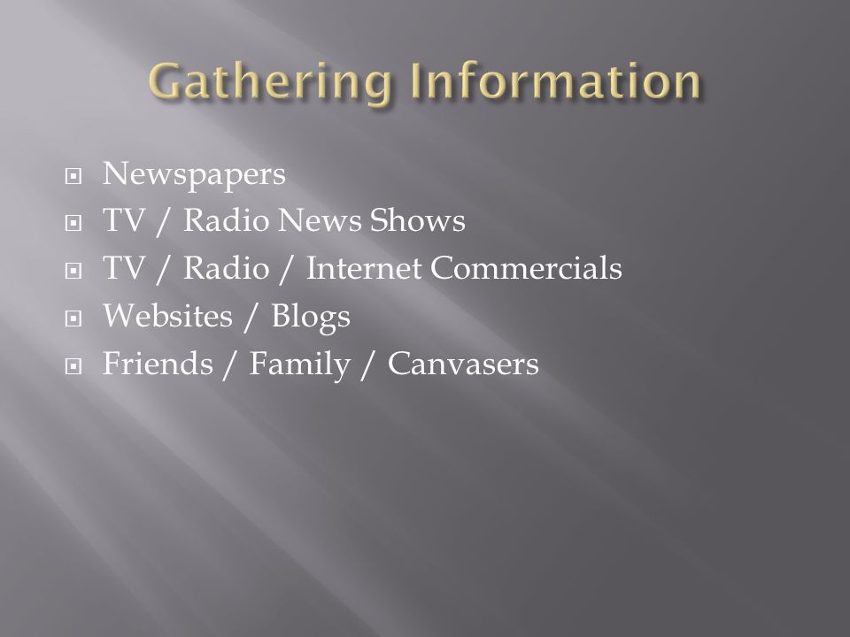  Newspapers  TV / Radio News Shows  TV / Radio / Internet Commercials  Websites / Blogs  Friends / Family / Canvasers
