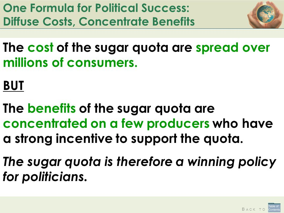 B ACK TO One Formula for Political Success: Diffuse Costs, Concentrate Benefits The cost of the sugar quota are spread over millions of consumers.