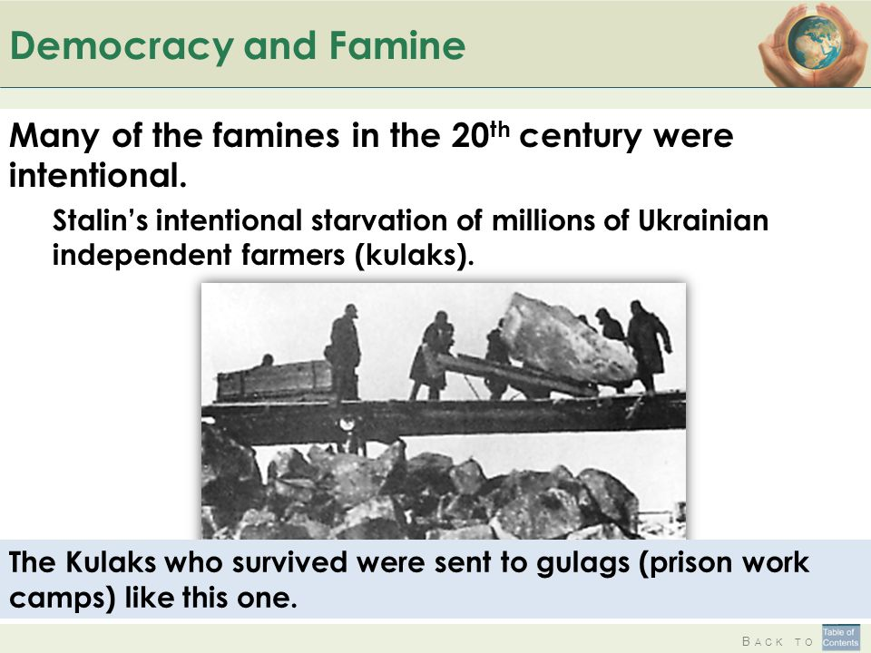 B ACK TO Democracy and Famine Many of the famines in the 20 th century were intentional.