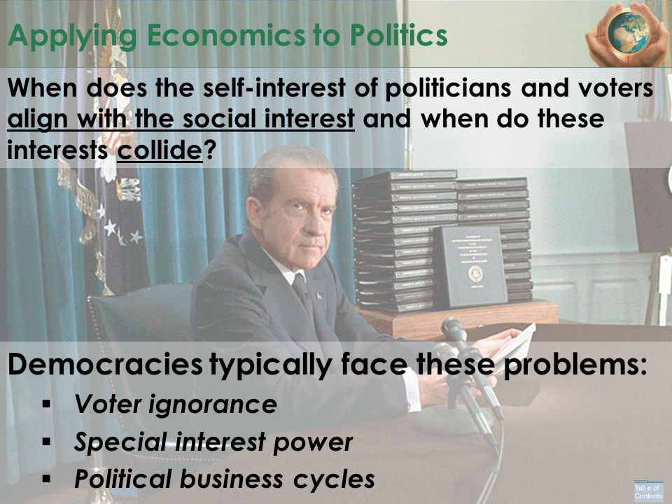 B ACK TO Applying Economics to Politics When does the self-interest of politicians and voters align with the social interest and when do these interests collide.
