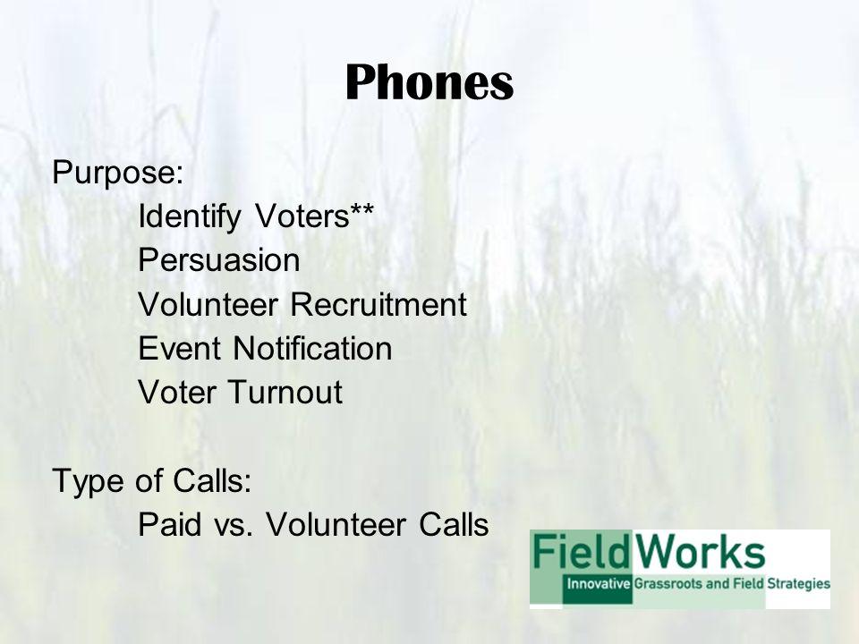 Phones Purpose: Identify Voters** Persuasion Volunteer Recruitment Event Notification Voter Turnout Type of Calls: Paid vs.