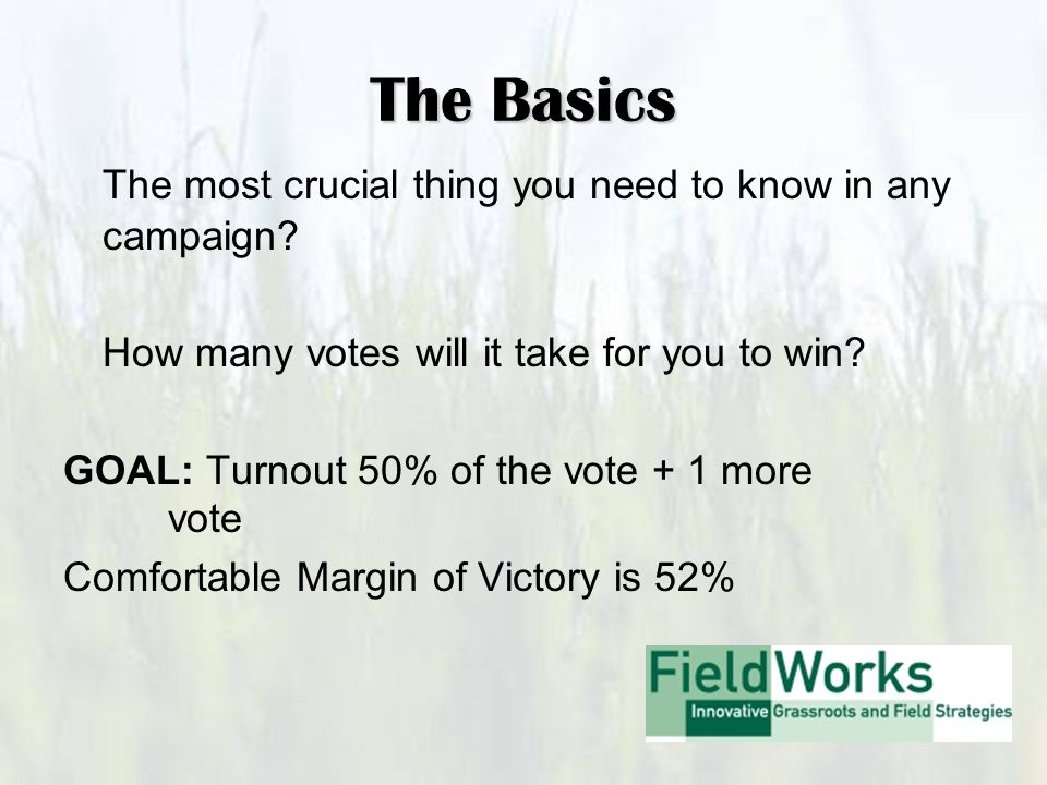The Basics The most crucial thing you need to know in any campaign.