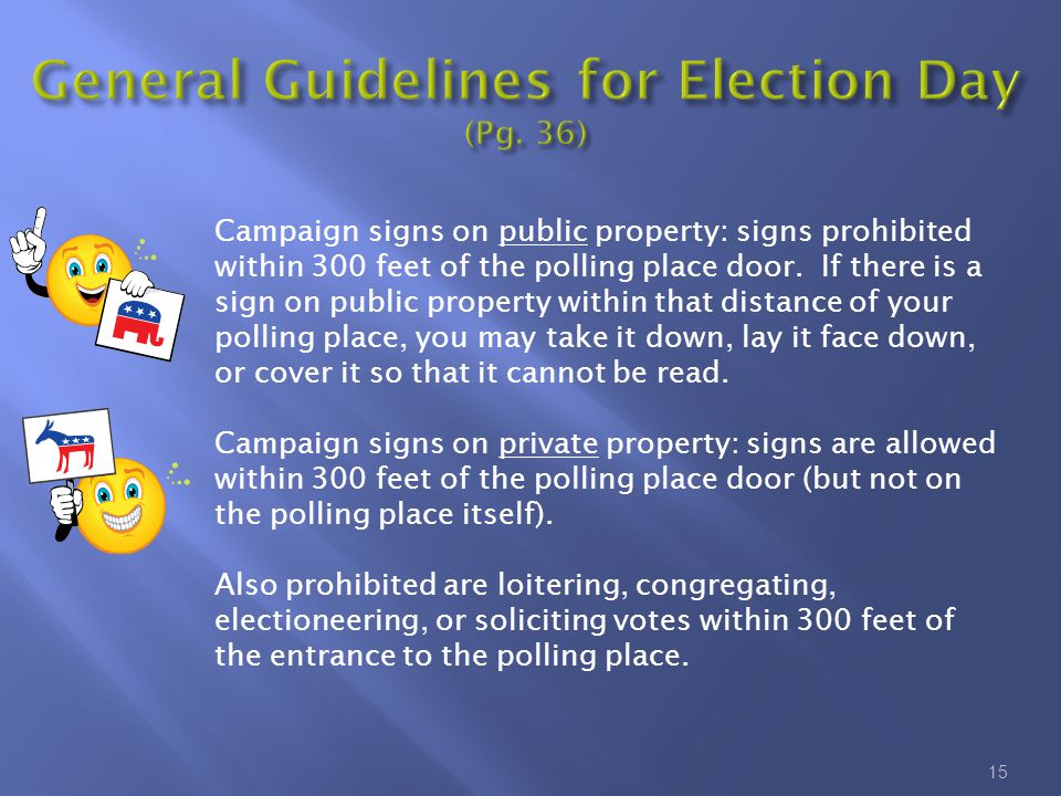 15 Campaign signs on public property: signs prohibited within 300 feet of the polling place door. If there is a sign on public property within that di