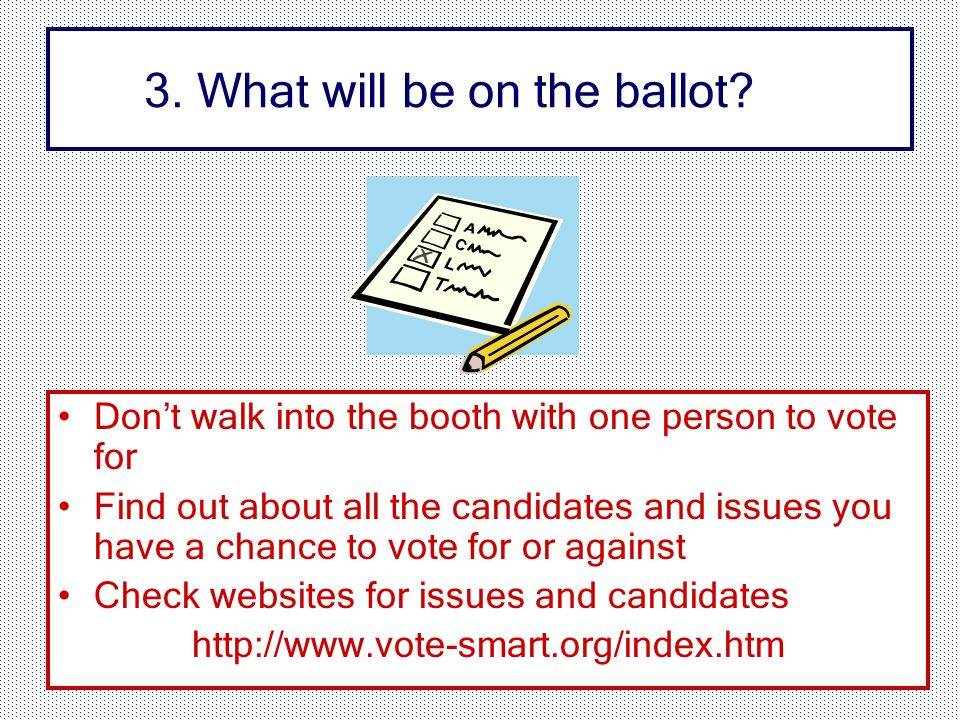 3. What will be on the ballot.