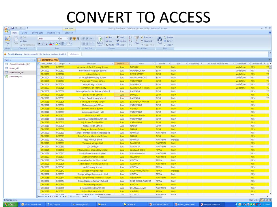 CONVERT TO ACCESS