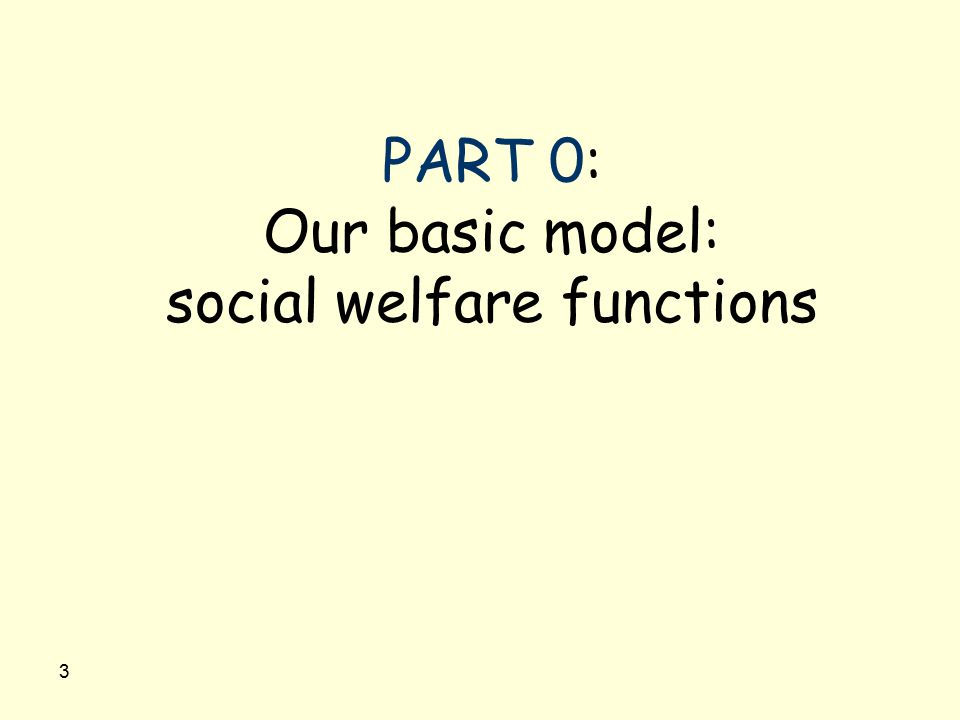 3 PART 0: Our basic model: social welfare functions