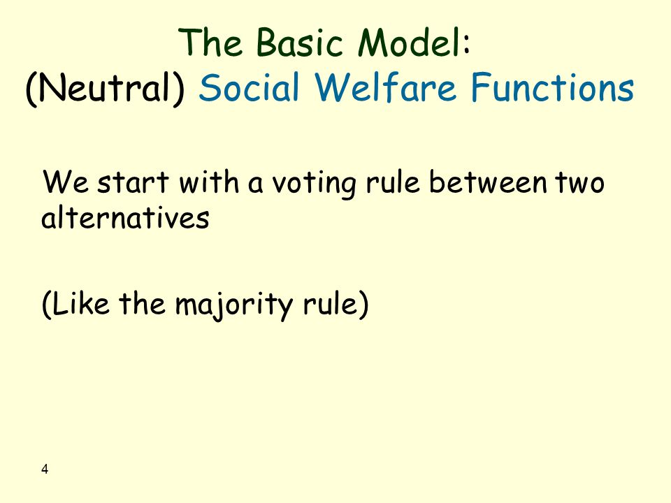 4 The Basic Model: (Neutral) Social Welfare Functions We start with a voting rule between two alternatives (Like the majority rule)
