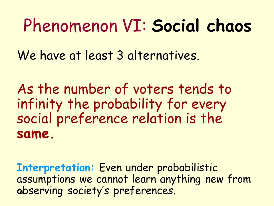 48 Phenomenon VI: Social chaos We have at least 3 alternatives. As the number of voters tends to infinity the probability for every social preference