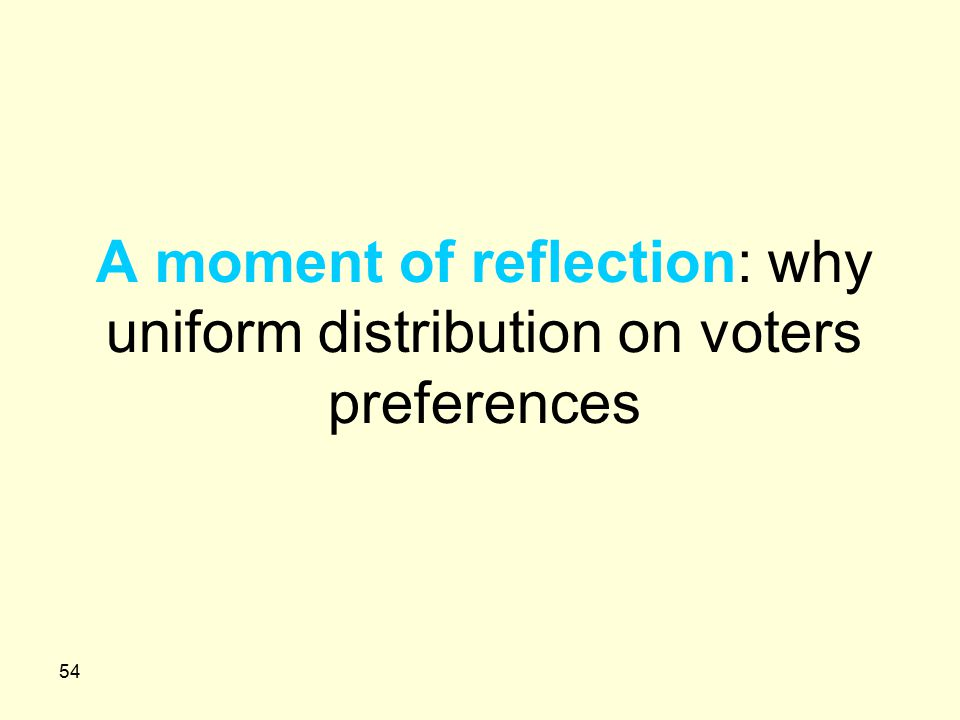 54 A moment of reflection: why uniform distribution on voters preferences