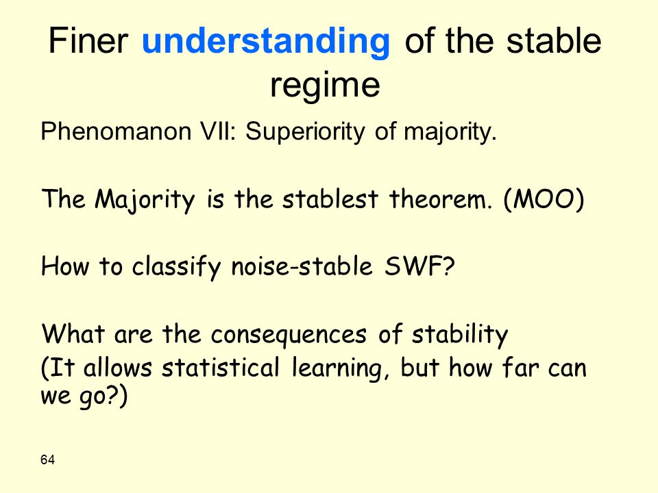 64 Finer understanding of the stable regime Phenomanon VII: Superiority of majority. The Majority is the stablest theorem. (MOO) How to classify noise