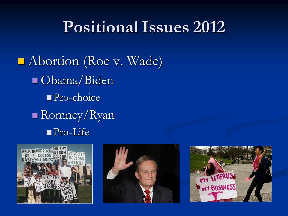 Positional Issues 2012 Welfare Welfare Obama/Biden Obama/Biden Supportive of social welfare programs Supportive of social welfare programs Romney/Ryan Romney/Ryan Believe social welfare programs need reform Believe social welfare programs need reform Restore Welfare to Work requirement Restore Welfare to Work requirement