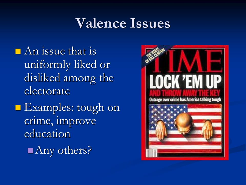 Valence Issues An issue that is uniformly liked or disliked among the electorate An issue that is uniformly liked or disliked among the electorate Examples: tough on crime, improve education Examples: tough on crime, improve education Any others.