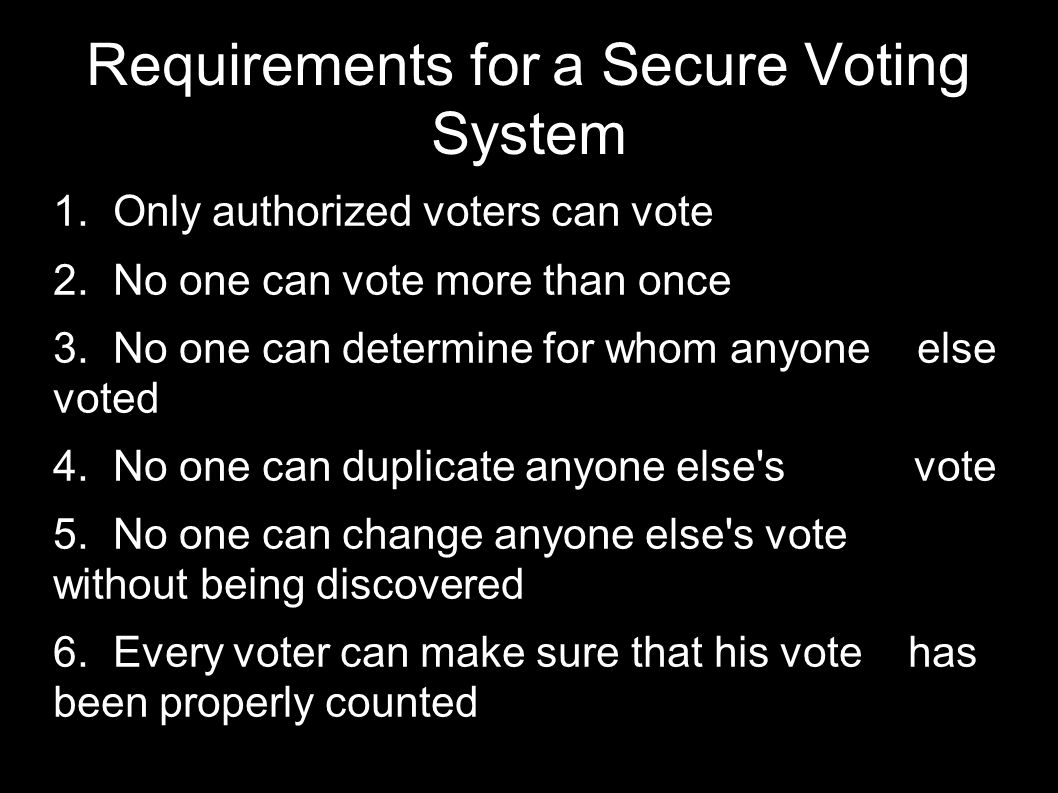 Simplistic Voting Protocol  The voter creates a ballot (perhaps via DRE machine).