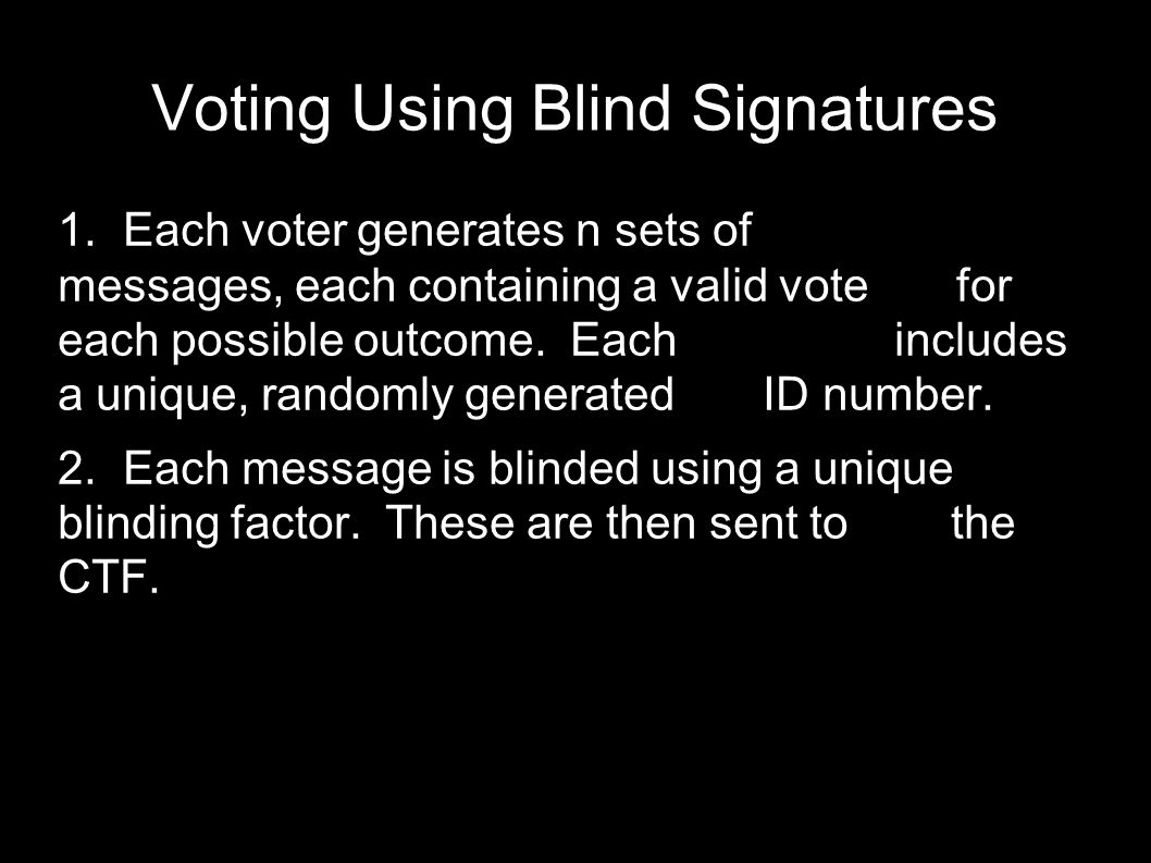 Voting Using Blind Signatures  The CTF first verifies that the voter has not previously submitted any votes.