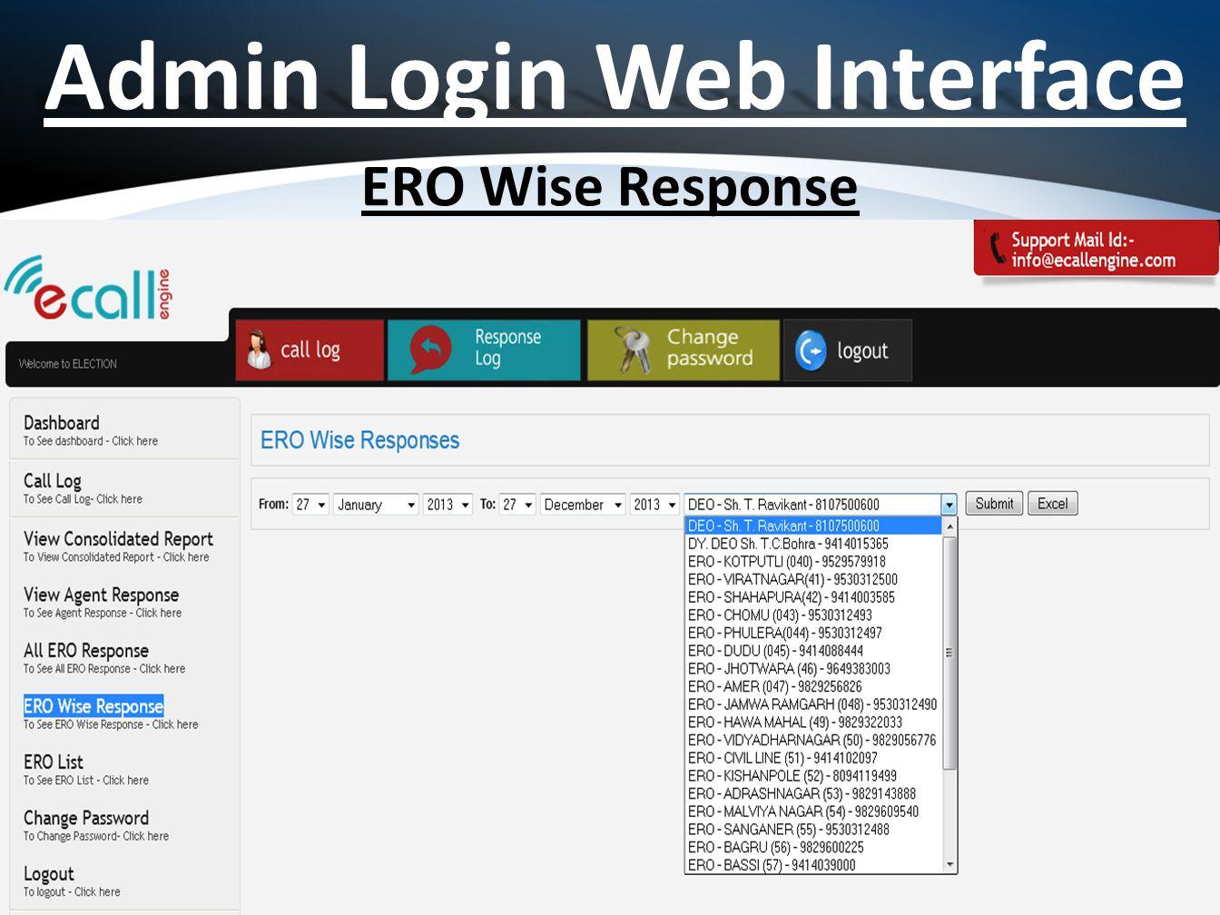 Admin Login Web Interface ERO Wise Response