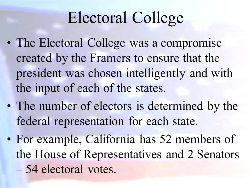 Electoral College The Electoral College was a compromise created by the Framers to ensure that the president was chosen intelligently and with the inp